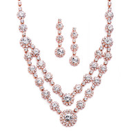 Rose Gold Two Row Rhinestone Necklace and Earring Jewelry Set