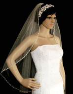 Marquise Rhinestone Beaded Edge Fingertip Length Wedding Veil