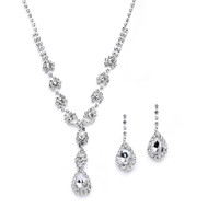 3 Sets Silver Plated Rhinestone Bridesmaid Jewelry with Pear Drops