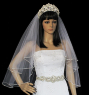 Two Layer Swarovski Rhinestone Edge Fingertip Length Wedding Veil
