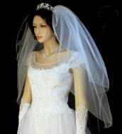 Crystal Scattered Two Layer Fingertip Length Wedding Veil