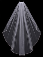 Rhinestone Beaded Edge Fingertip Wedding Veil Envogue V602SF