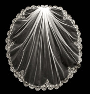 Beaded Silver Embroidery Fingertip Length Wedding Veil V3054