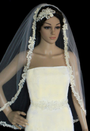 Champagne Beaded Lace Fingertip Length Wedding Veil V3112