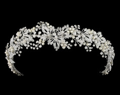 Lavish Ivory Pearl and Crystal Elastic Back Wedding Headband