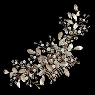 "6 1/2"" Long Rose Gold Crystal and Rhinestone Bridal Comb"