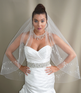 One Tier Fingertip or Royal Cathedral Wedding Veil Elena E1148FL