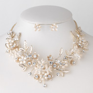 Light Gold and Champagne Floral Vine Wedding Jewelry Set