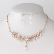 Rose Gold Plated Crystal Floral Bridal Jewelry Set
