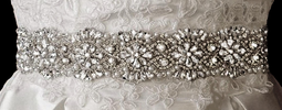 Full Circle Rhinestone and Pearl Wedding Dress Sash Belt