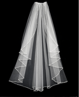 Pearl and Crystal Beaded Edge Cascade Style Fingertip Wedding Veil