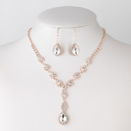 8 Sets Rose Gold Plated Clear Rhinestone Drop Bridesmaid Jewelry