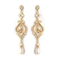 Gold Vintage Style Cubic Zirconia and Pearl Wedding Earrings