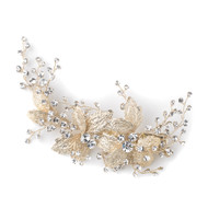 Light Gold Floral Vine Rhinestone Wedding Hair Clip