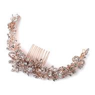 Rose Gold or Silver Floral Vine Rhinestone Wedding Hair Comb Wrap