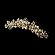 Gold Plated Pearl and Crystal Bridal Tiara Comb