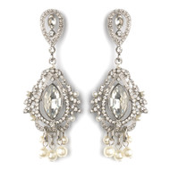 "Dramatic 3"" Vintage Look Rhinestone and Pearl  Wedding Earrings"