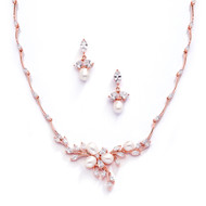 Rose Gold Freshwater Pearl and CZ Wedding Jewelry Set