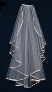 "Waterfall Ribbon Edge 40"" Length Wedding Veil V6421"