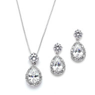 5 Sets CZ Halo Pear Pendant Necklace and Earrings  Bridesmaid Jewelry