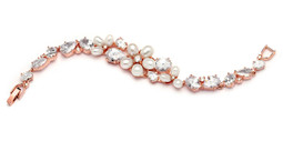 Rose Gold Freshwater Pearl and CZ Statement Bridal Bracelet