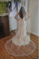 Beaded Scallop Cathedral Wedding Veil Elena Designs E1200L