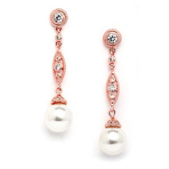 Rose Gold  CZ Wedding Dangle Earrings with Bold Cream Pearl 3625ERG