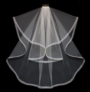 Two Layer Horsehair Beaded Edge Knee Length Wedding Veil