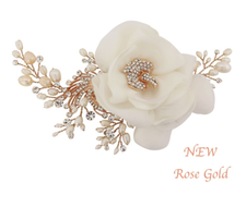 Rose Gold Freshwater Pearl and Fabric Flower Wedding Headpiece