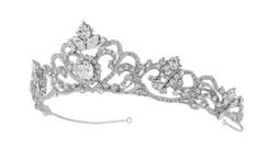 Silver Romantic Scroll Davina Crystal Wedding Tiara