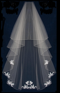 "60"" Long Two Layer Beaded Lace Encasement  Wedding Veil"