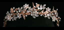Rose Gold Crystal and Rhinestone Floral Vine Wedding Headband