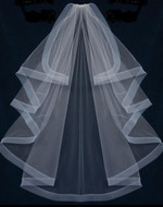 "Waterfall 50"" Length Wedding Veil with Horsehair Trim"