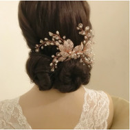 Rose Gold Pearl and Crystal Extravagance Wedding Hair Comb