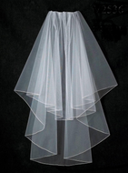 Two Layer Pencil edge Fingertip Length Wedding Veil V2536