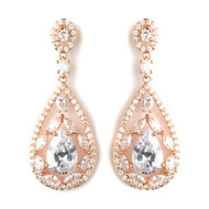 Rose Gold Plated CZ Wedding and Formal Earrings
