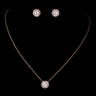 5 Sets Rose Gold CZ Pendant and Earrings Bridesmaid Jewelry