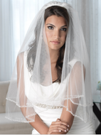 Two Layer Beaded Pearl Edge Fingertip or Cathedral Length Wedding Veil