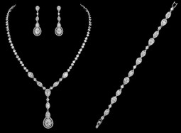 Vintage Look CZ Bridal Jewelry Set with Bracelet - Silver or Rose Gold