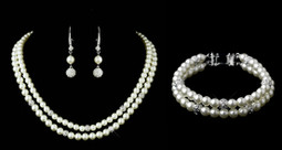 Double Strand Pearl Wedding Jewelry Set with Bracelet
