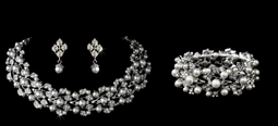 Pearl and Rhinestone Bridal Choker Jewelry Set with Bracelet