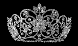 "3.75"" Tall Majestic Wedding and Quinceanera Tiara in Silver or Gold"