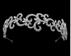 Rhinestone Swirl Silver Plated Wedding Headband