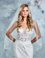 Beaded Embroidery Scallop Fingertip Wedding Veil 7001VL