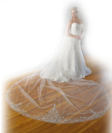 Heavily Embellished Royal Cathedral Wedding Veil Elena Designs E1211