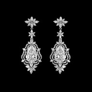 Stunning Vintage Inspired Silver Plated CZ Wedding Earrings