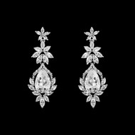 Vintage Inspired Silver Plated CZ Wedding Earrings me2905