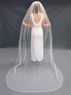 Beaded Pearl Edge Cathedral Length Wedding Veil V5008C