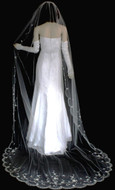 Wide Width Sparkling Beaded Embroidery Royal Cathedral Wedding Veil