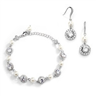 Silver Pearl and CZ Wedding Bracelet and Earring Set